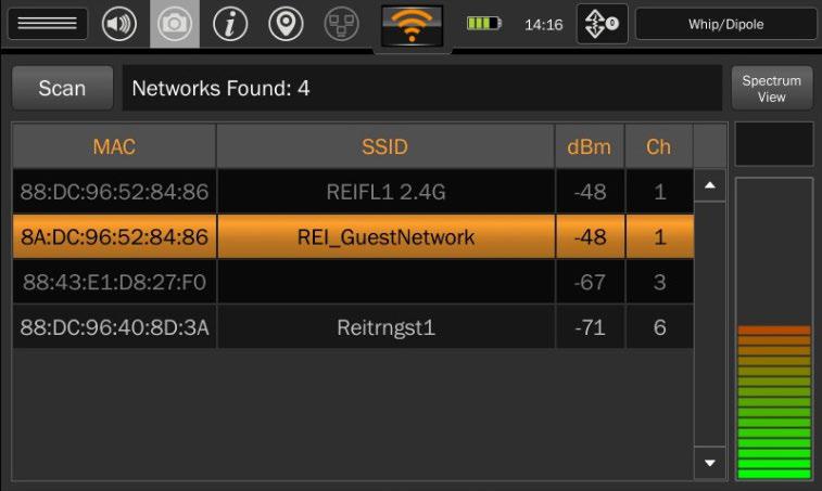 Wi-Fi каналы перекрываются и в режиме спектрального анализа невозможно разделить сигналы от каждого устройства