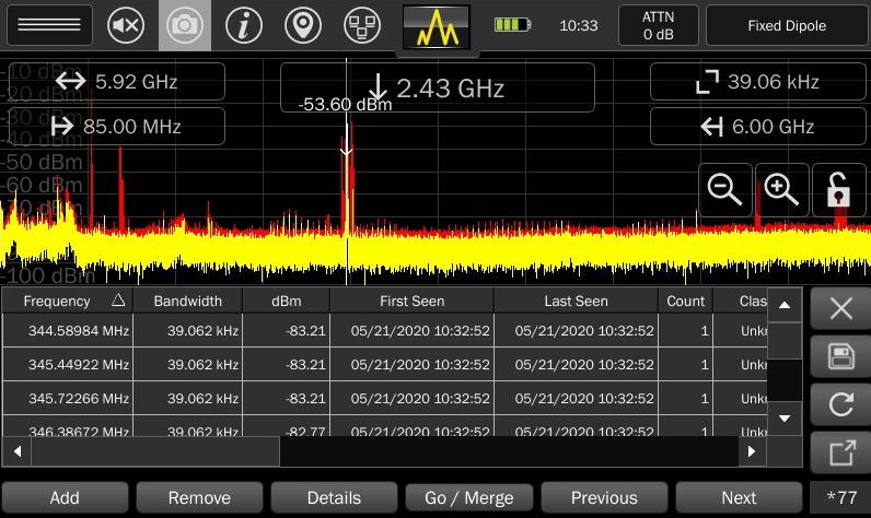 Вид списка сигналов, сохраненных в памяти Mesa