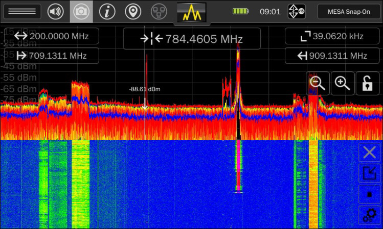 Функция cонограмма или водопад анализатора спектра Mesa